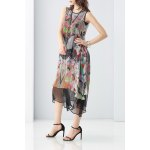 Double Side Layered Printed Dress deal