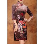 Floral Slit Sheath Qipao for sale
