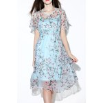 Floral Print Asymmetric See Through Dress