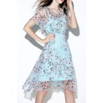 Floral Print Asymmetric See Through Dress deal