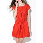 Solid Color Tie Front Dress