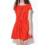 Solid Color Tie Front Dress deal
