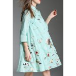 Mandarin Collar Peacock Embroidered Dress for sale
