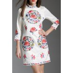 Stand Collar Flower Embroidered Mini Dress
