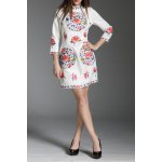 Stand Collar Flower Embroidered Mini Dress for sale