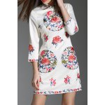 Stand Collar Flower Embroidered Mini Dress deal