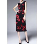 Sleeveless Sheath Floral Dress for sale