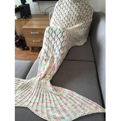 Hollow Out Mermaid Tail Design Knitting Blanket