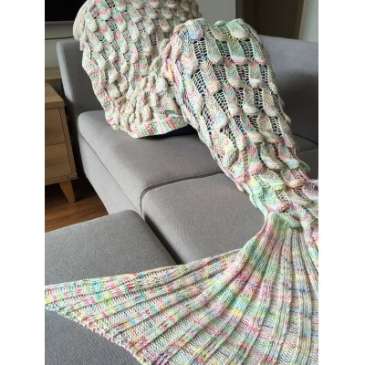 Fish Scale Shape Mermaid Tail Design Knitting Blanket