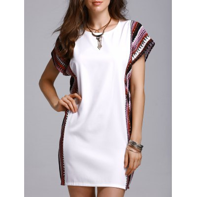 Round Neck Bat-Wing Sleeve Printed Loose Dress