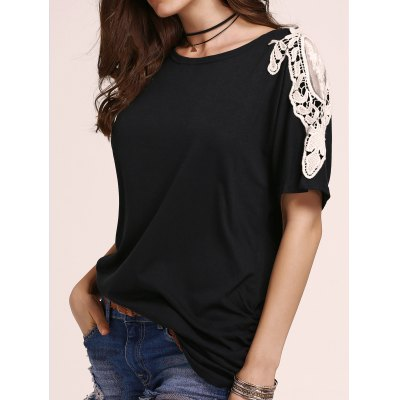 Stylish Round Neck Bat-Wing Sleeve Loose Lace Spliced Women's Dress