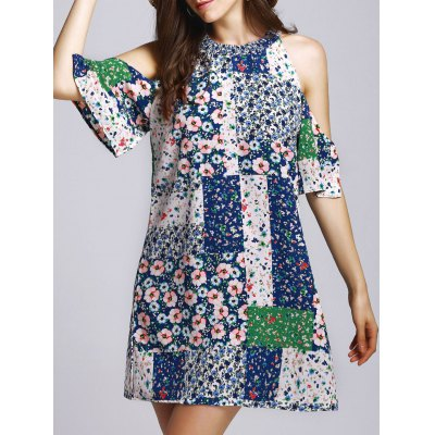 Round Neck Cut Out Tiny Floral Dress