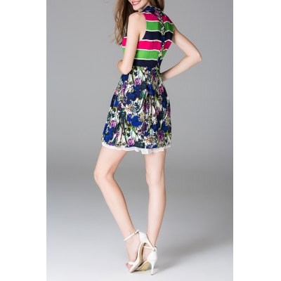 Hit Color Striped Patched Dress