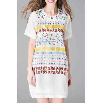 Embroidered Mini Dress with Cami Dress
