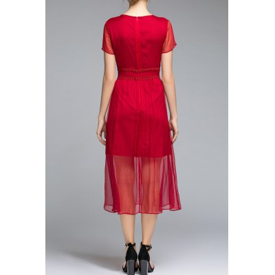 Pleated Solid Color See Through Dress