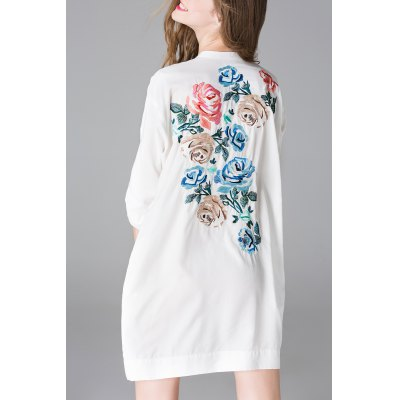 Button Front Back Embroidery Dress