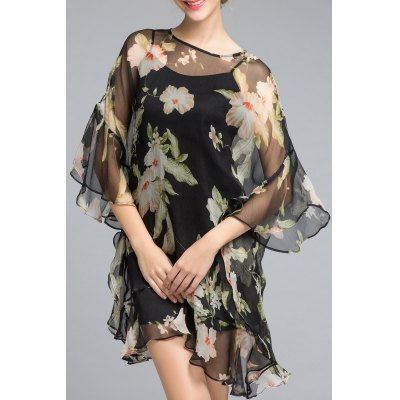 Flower Print Ruffled Dress