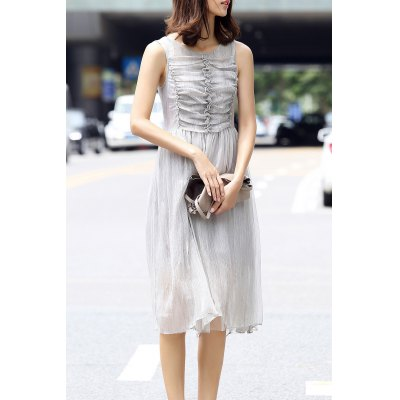 Ruched Solid Color Pleated Dress