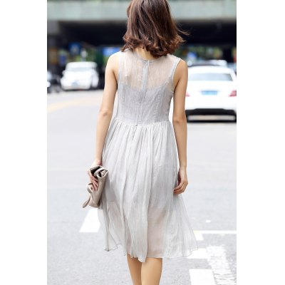 Ruched Solid Color Pleated DressDesigner Dresses<br>Ruched Solid Color Pleated Dress<br><br>Style: A Line<br>Material: Silk<br>Composition: 100% Silk<br>Dresses Length: Mid-Calf<br>Neckline: Round Collar<br>Sleeve Length: Sleeveless<br>Pattern Type: Solid<br>With Belt: No<br>Season: Summer<br>Weight: 0.470kg<br>Package Contents: 1 x Dress