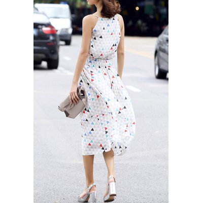 V Neck Geometric Print Sleeveless DressDesigner Dresses<br>V Neck Geometric Print Sleeveless Dress<br><br>Style: A Line<br>Occasion: Casual<br>Material: Silk<br>Composition: 100% Silk<br>Dresses Length: Mid-Calf<br>Neckline: V-Neck<br>Sleeve Length: Sleeveless<br>Pattern Type: Geometric<br>With Belt: No<br>Season: Summer<br>Weight: 0.470kg<br>Package Contents: 1 x Dress
