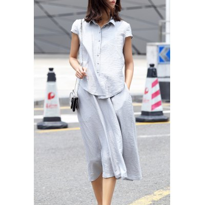 Polo Collar Tie Front Solid Color Dress