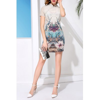 Mandarin Collar Flower Pattern Dress