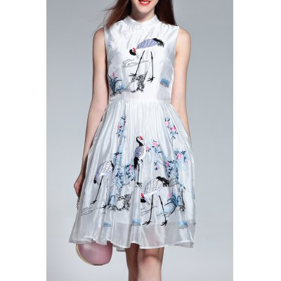 Sleeveless Crane Embroidered Dress