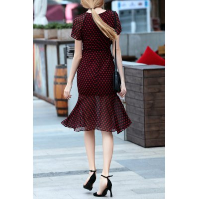 Mermaid Polka Dot Print DressDesigner Dresses<br>Mermaid Polka Dot Print Dress<br><br>Style: Mermaid<br>Occasion: Cocktail &amp; Party<br>Material: Polyester<br>Composition: 100% Polyester<br>Dresses Length: Mid-Calf<br>Neckline: Sweetheart Neck<br>Sleeve Length: Short Sleeves<br>Pattern Type: Polka Dot<br>With Belt: No<br>Season: Summer<br>Weight: 0.520kg<br>Package Contents: 1 x Dress