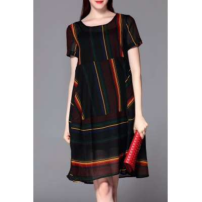 Knee Length Striped Dress with Tank Top