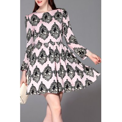 Gem Print Zippered Dress