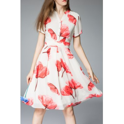 Knee Length Floral Print Dress