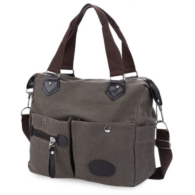 Large Capacity Women Casual Style Canvas Tote Belt Decoration Shoulder Bag
