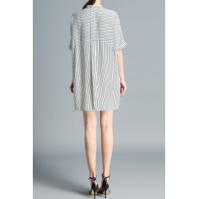 Stand Neck Striped Loose Fitting DressDesigner Dresses<br>Stand Neck Striped Loose Fitting Dress<br><br>Style: Shift<br>Occasion: Casual<br>Material: Polyester<br>Composition: 100% Polyester<br>Dresses Length: Mini<br>Neckline: Stand<br>Sleeve Length: Half Sleeves<br>Pattern Type: Striped<br>With Belt: No<br>Season: Fall,Spring,Summer<br>Weight: 0.370kg<br>Package Contents: 1 x Dress