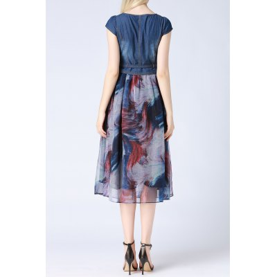 Round Neck Printed Denim Spliced DressDesigner Dresses<br>Round Neck Printed Denim Spliced Dress<br><br>Style: A Line<br>Occasion: Casual,Cocktail &amp; Party<br>Material: Polyester,Silk<br>Composition: 70% Silk,30% Polyester<br>Dresses Length: Mid-Calf<br>Neckline: Round Collar<br>Sleeve Length: Short Sleeves<br>Pattern Type: Print<br>With Belt: Yes<br>Season: Fall,Spring,Summer<br>Weight: 0.370kg<br>Package Contents: 1 x Dress  1 x Belt