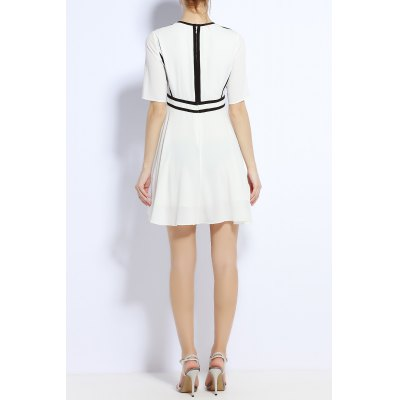 Round Neck Back Zipper Waisted DressDesigner Dresses<br>Round Neck Back Zipper Waisted Dress<br><br>Style: Cute<br>Occasion: Bridal,Causal,Prom,Work<br>Material: Polyester<br>Composition: 100% Polyester<br>Silhouette: A-Line<br>Dresses Length: Mini<br>Neckline: Round Collar<br>Sleeve Length: Half Sleeves<br>Pattern Type: Others<br>With Belt: No<br>Season: Fall,Spring,Summer<br>Weight: 0.370kg<br>Package Contents: 1 x Dress