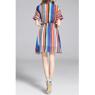 Colorful Stripes Waisted Bowknot Shirt DressDesigner Dresses<br>Colorful Stripes Waisted Bowknot Shirt Dress<br><br>Style: A Line<br>Occasion: Cocktail &amp; Party<br>Material: Polyester,Silk<br>Composition: 65% Silk,35% Polyester<br>Dresses Length: Mini<br>Neckline: Shirt Collar<br>Sleeve Length: Half Sleeves<br>Pattern Type: Striped<br>With Belt: No<br>Season: Fall,Spring,Summer<br>Weight: 0.370kg<br>Package Contents: 1 x Dress
