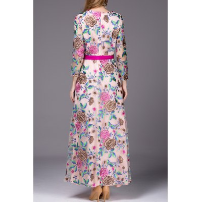 Floral Embroidered Belted Long DressDesigner Dresses<br>Floral Embroidered Belted Long Dress<br><br>Style: A Line<br>Material: Viscose<br>Composition: 100% Viscose<br>Dresses Length: Ankle-Length<br>Neckline: Round Collar<br>Sleeve Length: Long Sleeves<br>Waist: Empire<br>Pattern Type: Floral<br>With Belt: Yes<br>Season: Fall,Spring<br>Weight: 0.578kg<br>Package Contents: 1 x Dress  1 x Belt