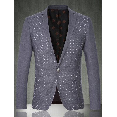 Lapel Printed Long Sleeve One Button Design Blazer For Men
