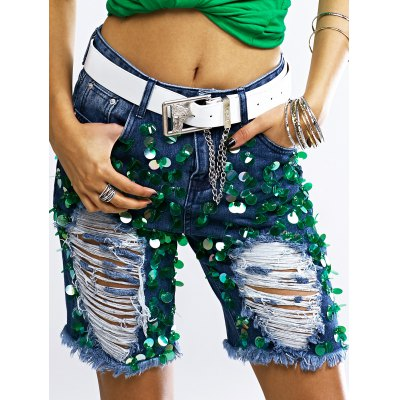 Fashionable Sequined Denim Ripped Shorts Women