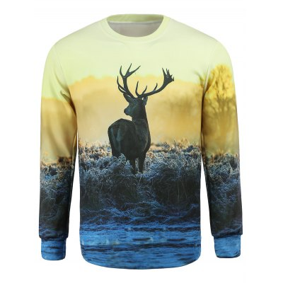 Round Collar Elk Printed Sweatshirt For Men