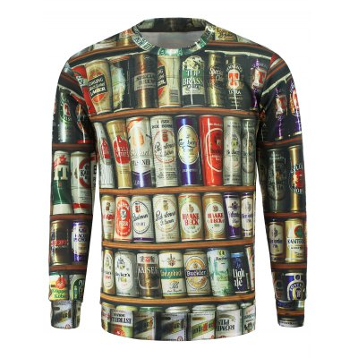 Round Collar Jar Printed Sweatshirt For Men