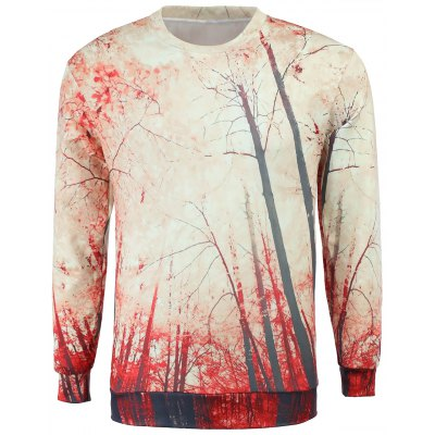 Round Collar Tree Printing Sweatshirt For Men