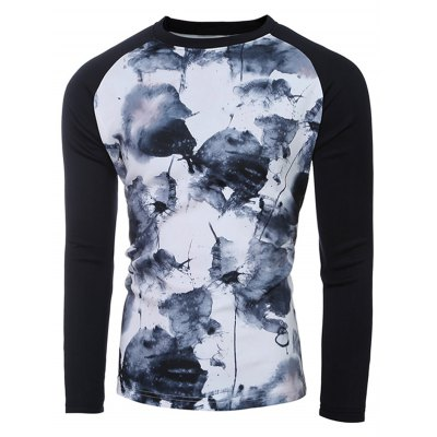 Round Neck Ink and Wash Print Raglan Sleeve Sweatshirt For MenMens Hoodies &amp; Sweatshirts<br>Round Neck Ink and Wash Print Raglan Sleeve Sweatshirt For Men<br><br>Material: Cotton,Polyester<br>Clothing Length: Regular<br>Sleeve Length: Full<br>Style: Fashion<br>Weight: 0.550kg<br>Package Contents: 1 x Sweatshirt