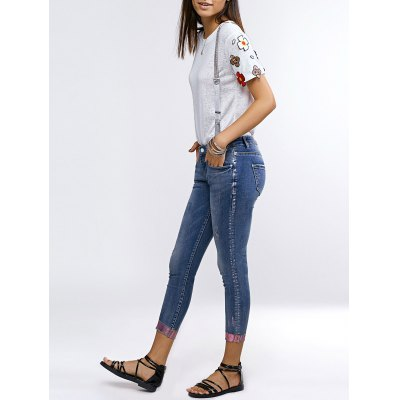 Chic Hemming Denim Suspender Pants For Women