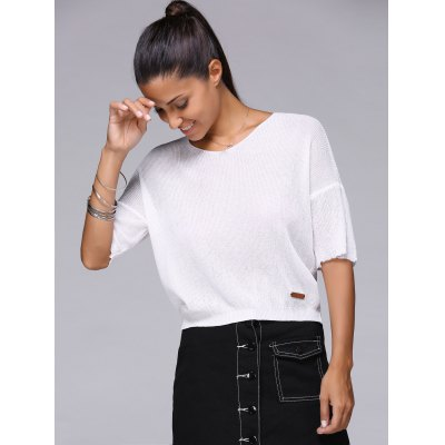 Simple Pure Color Half Sleeve Cropped Knitwear For Women