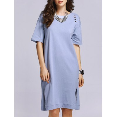 Stylish Round Neck Short Sleeve Broken-Hole Side Slit Women's Dress