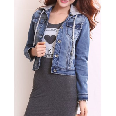 Women's Detachable Hooded Short Buttoned Jacket
