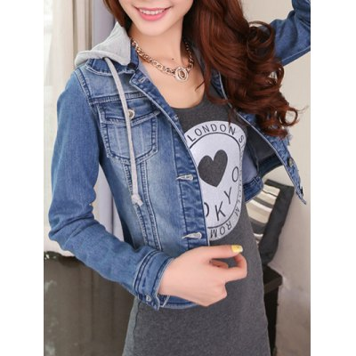 Detachable Hooded Short Buttoned Jacket  $34.13