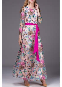 Floral Embroidered Belted Long Dress