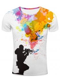 3D Sniper and Colorful Splatter Paint Print T-Shirt